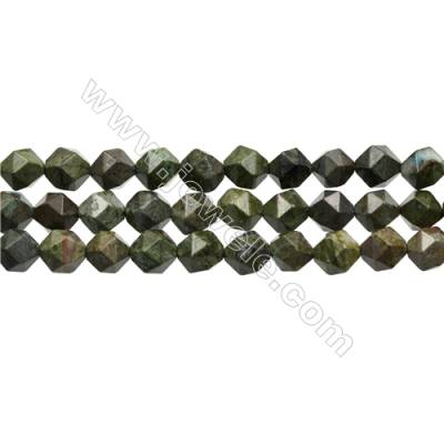 Grade A Dragon Blood Jasper Beads Strands, Star Cut Faceted, Size 10x10mm, Hole 0.8mm, 15~16''/strand