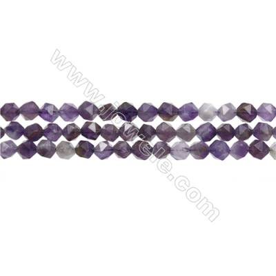 "Dog-teeth Amethyst Beads Strands, Star Cut Faceted, Size 6x6mm, Hole 0.8mm, 15~16""/strand"