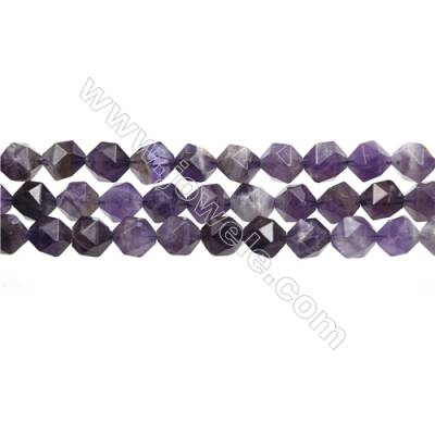 "Dog-teeth Amethyst Beads Strands, Star Cut Faceted, Size 10x10mm, Hole 0.8mm, 15~16""/strand"