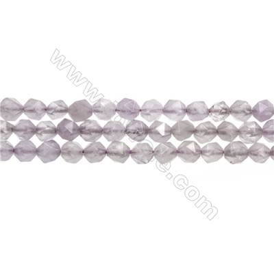 "Light Purple Jade Beads Strands, Star Cut Faceted, Size 6x6mm, Hole 0.8mm, 15~16""/strand"