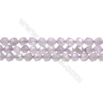 "Light Purple Jade Beads Strands, Star Cut Faceted, Size 8x8mm, Hole 1mm, 15~16""/strand"