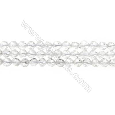 "Natural Rock Crystal Beads Strand, Star Cut Faceted, Size 6x6mm, Hole 0.8mm, 15~16""/strand"