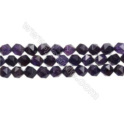 "Grade AA Amethyst Beads Strands, Star Cut Faceted, Size 10x10mm, Hole 0.8mm, 15~16""/strand"