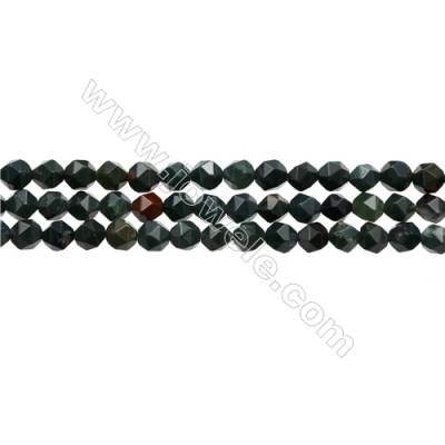 "Blood Stone Beads Strands, Star Cut Faceted, Size 6x6mm, Hole 0.8mm, 15~16""/strand"