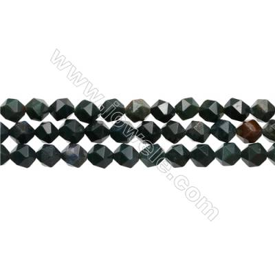 "Blood Stone Beads Strands, Star Cut Faceted, Size 8x8mm, Hole 1mm, 15~16""/strand"