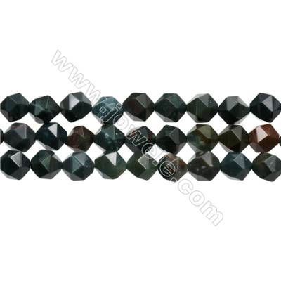 "Blood Stone Beads Strands, Star Cut Faceted, Size 10x10mm, Hole 1mm, 15~16""/strand"