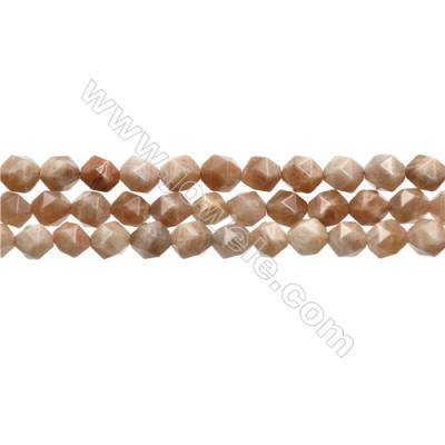 "Peach Moonstone Beads Strands, Star Cut Faceted, Size 8x8mm, Hole 0.8mm, 15~16""/strand"