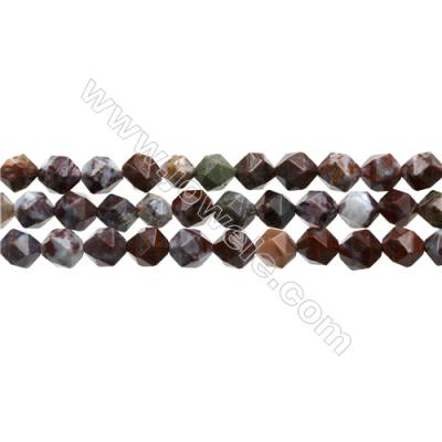 "Red Lightning Agate Beads Strands, Star Cut Faceted, Size 8x8mm, Hole 0.8mm, 15~16""/strand"