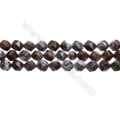 "Red Lightning Agate Beads Strands, Star Cut Faceted, Size 10x10mm, Hole 0.8mm, 15~16""/strand"