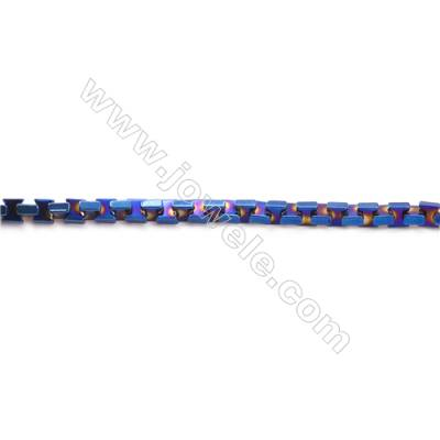 Various Colors Plated Hematite Beads Strand  Bow Tie  Size: 3x3x2mm  Hole 0.6mm  about 150 beads/strand 15~16""
