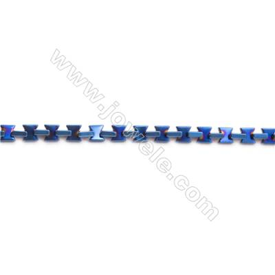 Various Colors Plated Hematite Beads Strand, Bow Tie, Size 6x4x3mm, Hole 0.8mm, about 80 beads/strand 15~16""