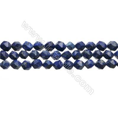 "Natural Lapis Lazuli Beads Strands, Star Cut Faceted, Size 8x8mm, Hole 1mm, 15~16""/strand"