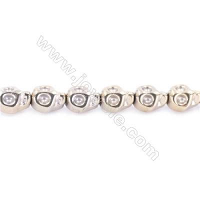 Golden Plated Hematite Beads Strand  Skull  Size: 8x10mm  Hole 1mm  about 40 beads/strand 15~16""