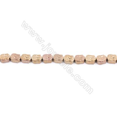Copper Plated Hematite Beads Strand  Head  Size: 6x8mm  Hole 1mm  about 79 beads/strand 15~16""