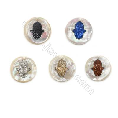 Natural White Mother of Pearl Shell Pendants, with Hands Pattern, Coins, Diameter 18mm, Hole 0.8mm, 10pcs/pack