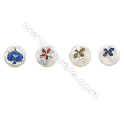 Natural White Mother of Pearl Shell Pendants, with Flower Pattern, Coins, Diameter 23mm, Hole 1mm, 8pcs/pack