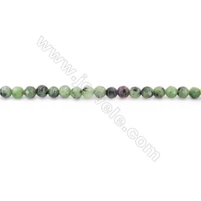 Ruby Zoisite Beads Strand  Faceted Round   diameter 4mm  hole 1mm  about 96 beads/strand 15~16""