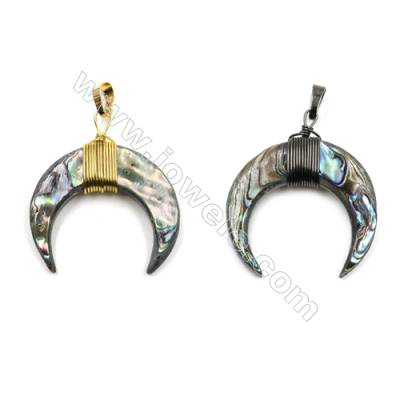 Natural Abalone Shell Pendants, with Brass wire, (Gold, Gun Black)Plated, Moon, Size: about 32x35mm, 5pcs/pack