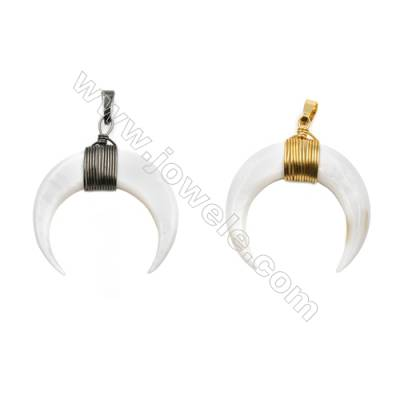 Natural White Shell Pendants, with Brass wire, (Gold, Gun Black)Plated, Moon, Size: about 32x35mm, 6pcs/pack