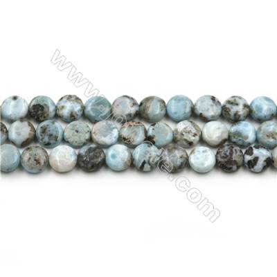 "Natural Copper Pectolite/ Larimar Beads Strands, Flat Round, Size 10mm, Hole 0.8mm, 15~16""/strand"