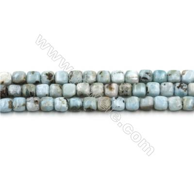 "Natural Copper Pectolite/ Larimar Beads Strands, Square, Size 6mm, Hole 0.8mm, 15~16""/strand"