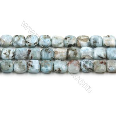 "Natural Copper Pectolite/ Larimar Beads Strands, Square, Size 10mm, Hole 1mm, 15~16""/strand"