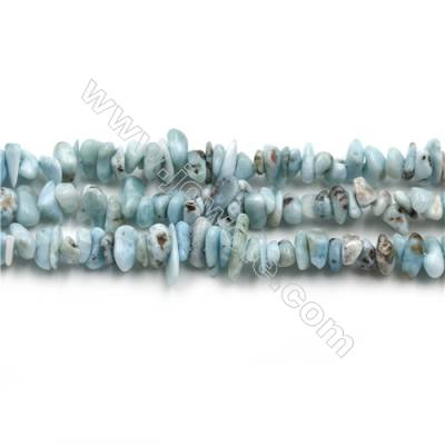 "Natural Copper Pectolite/ Larimar Beads Strands, Chips, Size 4~6x4~10mm, Hole 0.8mm, 15~16""/strand"