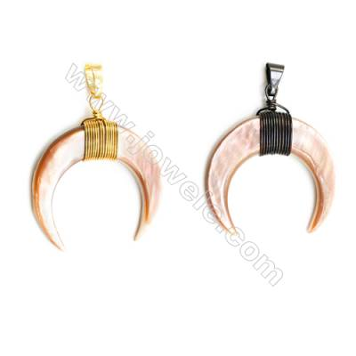 Pink mother-of-pearl pendant, Size 36x39mm, x1pc  (Brass: gold-plated or black)