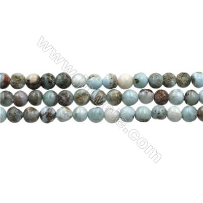 "Natural Copper Pectolite/ Larimar Beads Strands, Round, Size 6mm, Hole 1mm, 15~16""/strand"