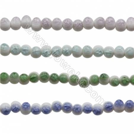 Handmade Mix Color Porcelain/Ceramic Beads Strands, Oval, Size 9x12mm, Hole 3mm, about 35 beads/strand
