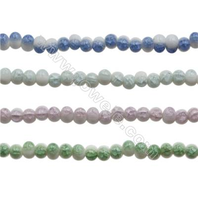 Handmade Mix Color Porcelain/Ceramic Beads Strands, Oval, Size 7x9mm, Hole 3mm, about 42 beads/strand