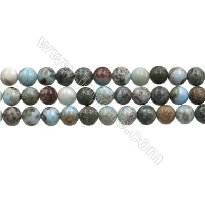 "Natural Copper Pectolite/ Larimar Beads Strands, Round, Size 8mm, Hole 0.8mm, 15~16""/strand"