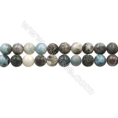 "Natural Copper Pectolite/ Larimar Beads Strands, Round, Size 10mm, Hole 1mm, 15~16""/strand"