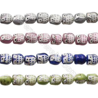 Handmade Mix Color Porcelain/Ceramic Beads Strands, Owl, Size 15x16mm, Hole 2mm, about 20 beads/strand
