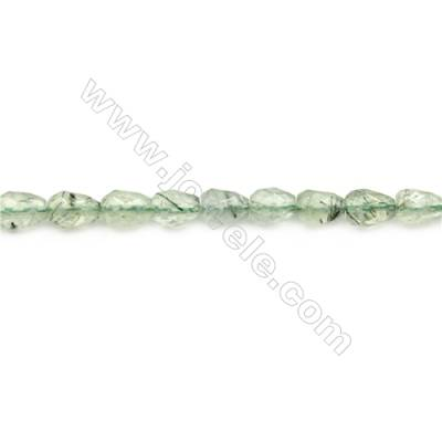 Natural Prehnite Beads Strand  Faceted Teardrop  Size 6x8mm  hole 1mm  about 48 beads/strand 15~16""