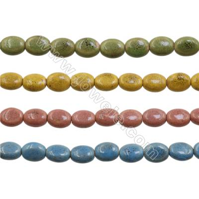 Handmade Mix Color Porcelain/Ceramic Beads Strands, Oval, Size 12x14mm, Hole 1.5mm, about 28 beads/strand