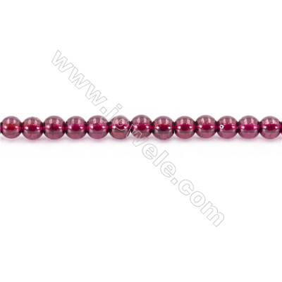 Natural  Garnet Beads Strand  Round  diameter 4mm  hole 0.8mm  about 116 beads/strand 15~16""