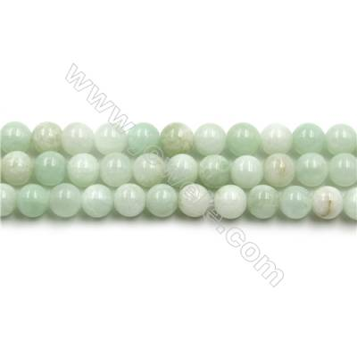 "Natural Green Moonstone Beads Strands, Rounds, Size 6mm, Hole 0.8mm, 15~16""/strand"