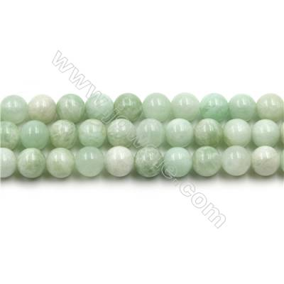 "Natural Green Moonstone Beads Strands, Round, Size 8mm, Hole 0.8mm, 15~16""/strand"