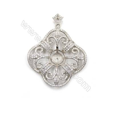 925 Sterling silver platinum plated zircon pendant, 32x37mm, x 2pcs, tray 7mm, needle 0.7mm