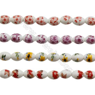 Handmade Mix Color Porcelain/Ceramic Beads Strands, Oval, Size 10x14mm, Hole 2mm, about 28 beads/strand 15~16""