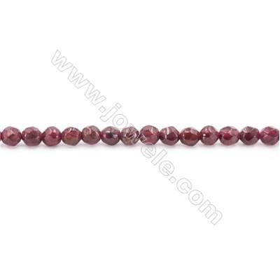 Natural Garnet Beads Strand Faceted Round  diameter 3mm  hole 0.8mm  about 143 beads/strand 15~16""