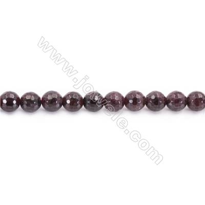 Natural Garnet Beads Strand Faceted Round  diameter 6mm  hole 1mm  about 59 beads/strand 15~16""