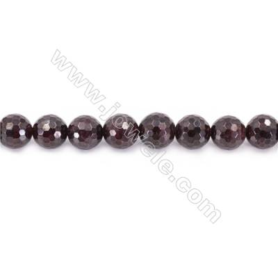 Natural Garnet Beads Strand Faceted Round  diameter 10mm  hole 1mm  about 38 beads/strand 15~16""