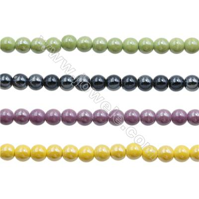 Handmade Mix Color Porcelain/Ceramic Beads Strands, Round, Diameter 10mm, Hole 2mm, about 42 beads/strand 15~16""