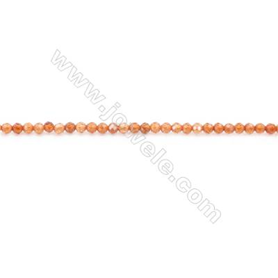 Natural Orange Garnet Beads Strand Faceted Round  diameter 2mm  hole 0.6mm  about 197 beads/strand 15~16""