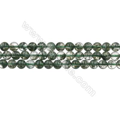 Green Phantom Quartz Beads Strands, Round, Size 6mm, Hole 0.8mm, 15~16''/strand