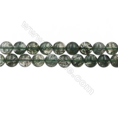 "Green Phantom Quartz Beads Strands, Round, Size 10mm, Hole 0.8mm, 15~16""/strand"