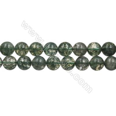 "Green Phantom Quartz Beads Strands, Round, Size 12mm, Hole 0.8mm, 15~16""/strand"