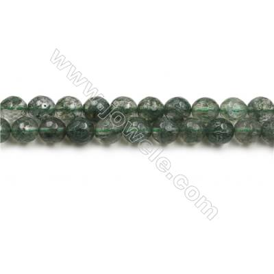 "Green Phantom Quartz Beads Strands, Round, Size 8mm, Hole 0.8mm, 15~16""/strand"